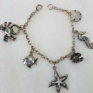 """Jewelry - Beach Charm Bracelet  -Silvertone - 7 1/2"""""""